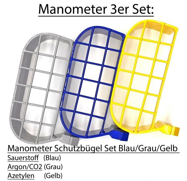 Manometer-3er Set Blau/Grau/Gelb Sauerstoff & Argon/CO2 & Azetylen