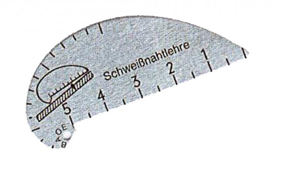 Schweißnahtlehre, aus Aluminiumblech, Messbereich Ecknähte 2-15mm, für Flachnähte 0-5mm