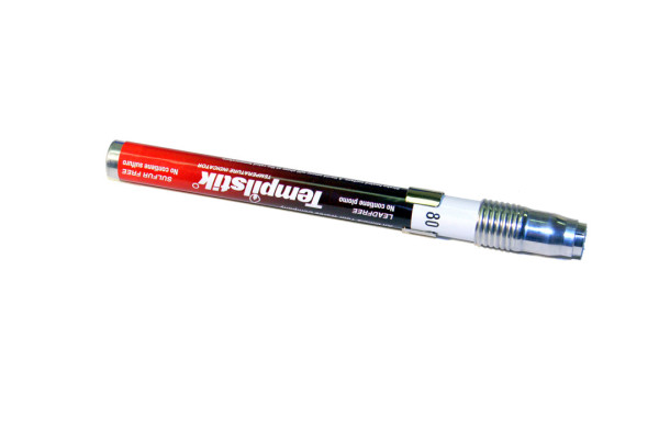 Temperaturmessstift, Ummantelung durch Metallhülse, Original Tempilstick, 600°C