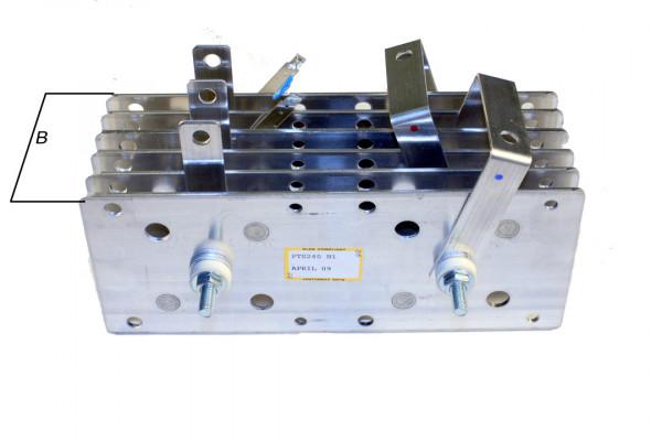 Gleichrichter SCOMES, 6 Platten, 100 x 200, 36 Dioden, 360 A, Thermoschalter, schmal 90mm