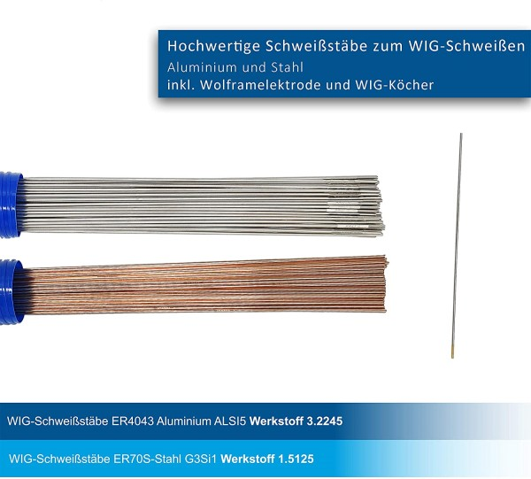 WIG Schweißstäbe 2er Set ER70S-G3 Stahl & ER4043Si5 Aluminium Ø 3,2 x 1000 mm