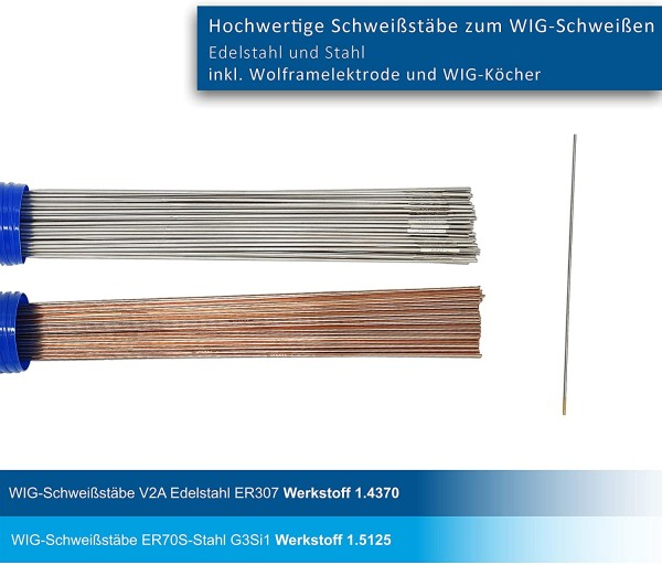 WIG Schweißstäbe 2er Set ER70S-G3 Stahl & ER307Si Edelstahl hochlegiert Ø 1,6 x 1000 mm